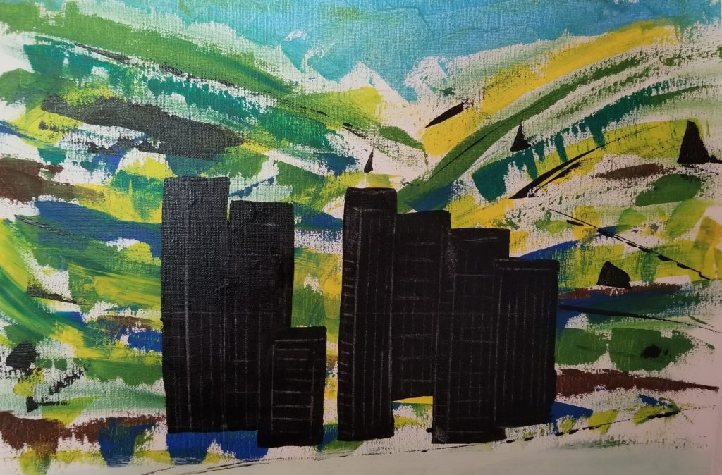 """This painting was done as a test for the large painting """"Sunset in Woodland Hills"""""""
