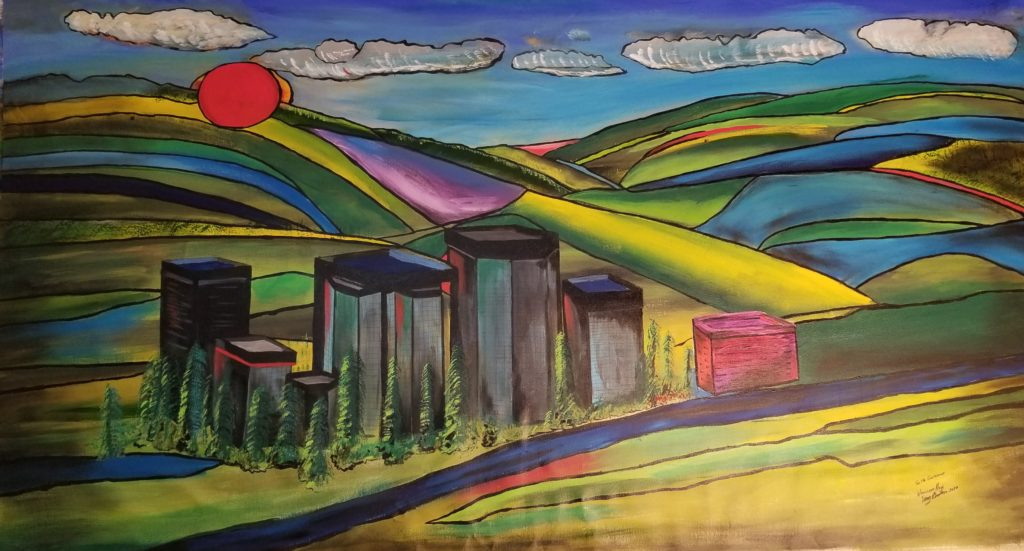 Sunset in Woodland HIlls. This painting is 7' x 3 1/2' and was painted for a client. Acrylic on canvas.