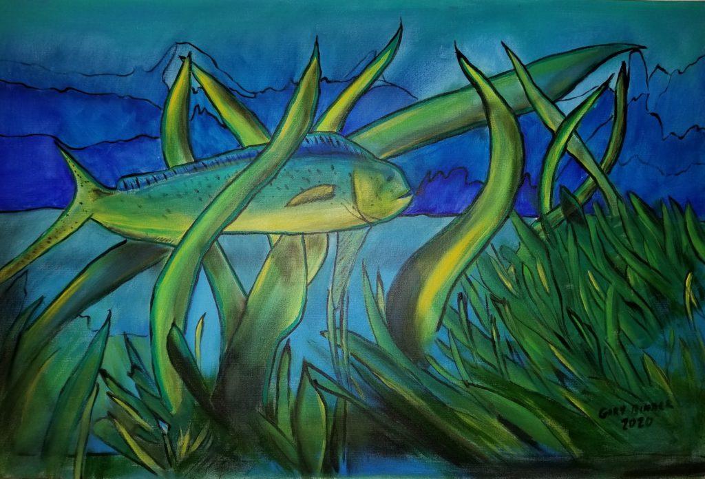 """Dolphin Fish- 24""""x36"""" Acrylic $1,500."""
