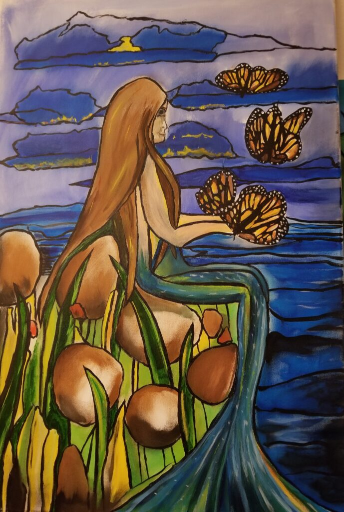 """Mermaid and Butterfly- 24""""x36"""" Acrylic $1,500."""