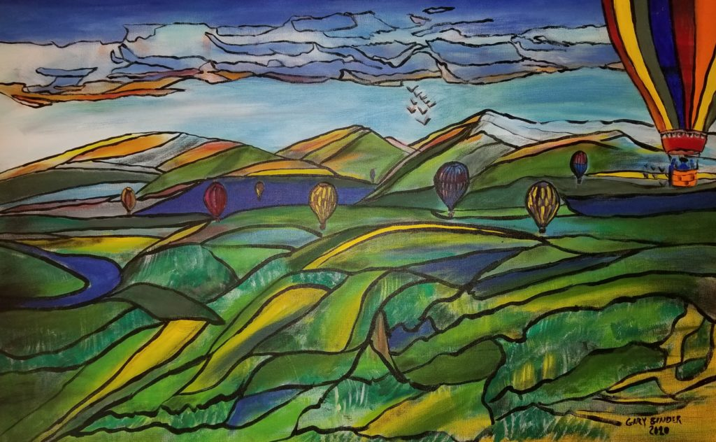 "Balloons over the valley- 24""x36"" Acrylic $1,500."