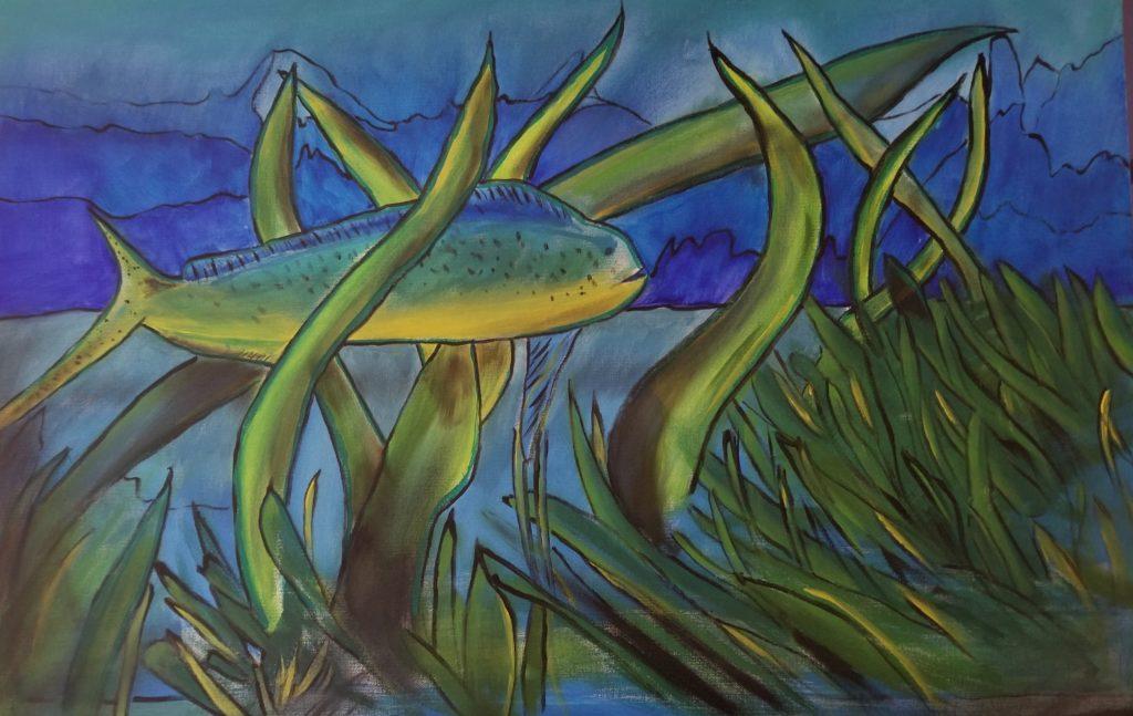 """Dolphin Fish - 24""""x36"""" Acrylic $1,500."""