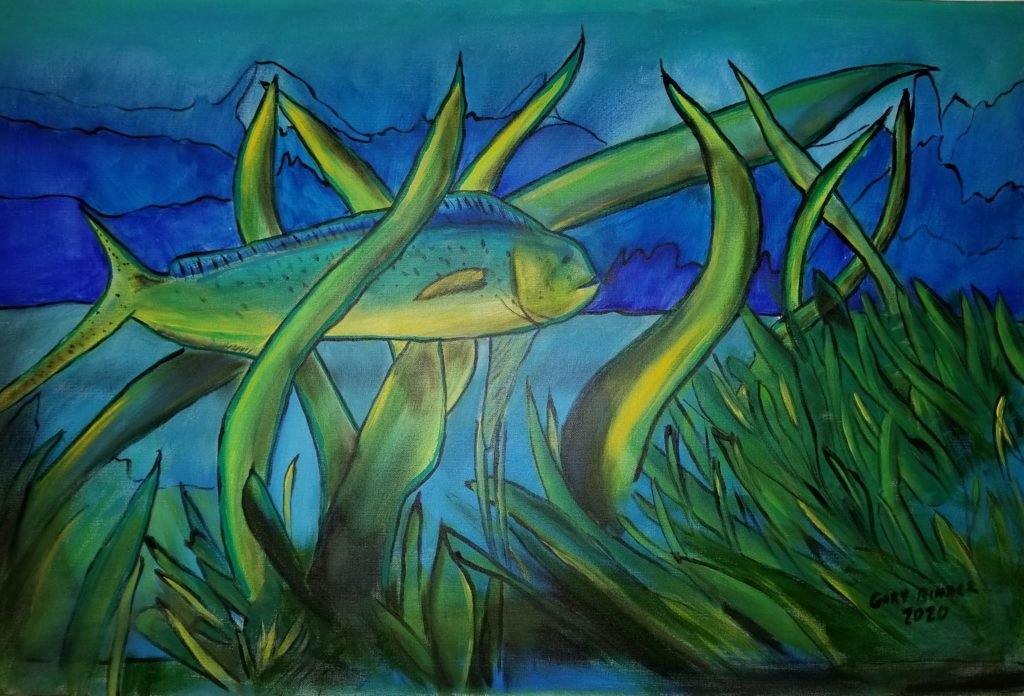 """Dolphin Fish / Mahi-Mahi- 24""""x36"""" Acrylic $1,500. This painting is part of my series that I call """"Stained Glass"""" As a sailor in the Atlantic Ocean off Florida and the Bahamas, I've fished for these fish for years. People get defensive when you say you caught a Dolphin as their called in Florida. These are fish and we all love the mammal of the same name. """"The mahi-mahi or common dolphinfish is a surface-dwelling ray-finned fish found in off-shore temperate, tropical, and subtropical waters worldwide. Also widely called dorado and dolphin"""""""