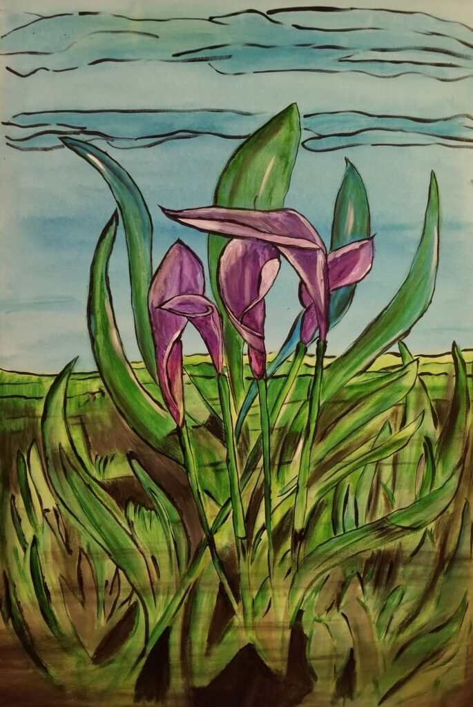 """Lilly's- 24""""x36"""" Acrylic $1,500. .This painting is part of my series that I call """"Stained Glass."""""""