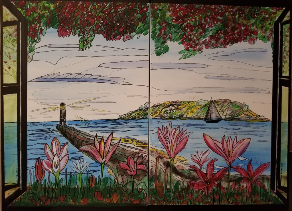 """Looking out my window - Acrylic on canvas 2 - 24 x36 for a 48"""" x 36"""" painting. For sale $3,000"""